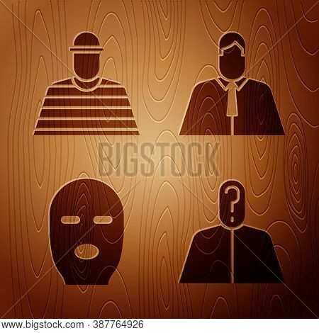 Set Anonymous With Question Mark, Prisoner, Thief Mask And Lawyer, Attorney, Jurist On Wooden Backgr