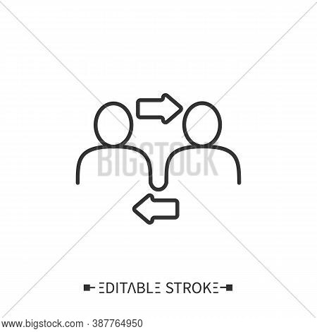 Interpersonal Relationship Icon. Two People Interacting And Associating With Each Other. Outline Dra