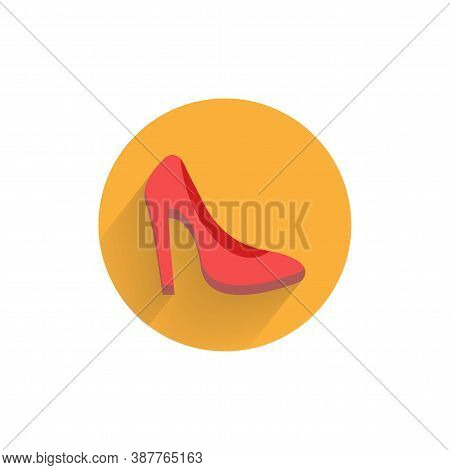 Woman Heel Colorful Flat Icon With Shadow. Heel Flat Icon