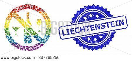 Rainbow Colored Vector Forbidden Wine Drinks Mosaic For Lgbt, And Liechtenstein Dirty Rosette Seal P