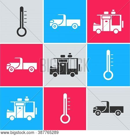 Set Meteorology Thermometer, Pickup Truck And Rv Camping Trailer Icon. Vector