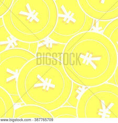 Chinese Yuan Gold Coins Seamless Pattern. Flawless Scattered Yellow Cny Coins. Success Concept. Chin