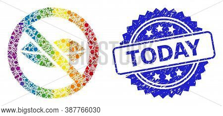 Bright Colorful Vector Forbidden Kiss Collage For Lgbt, And Today Corroded Rosette Watermark. Blue S