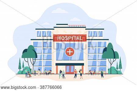 People Walking And Sitting At Hospital Building. City Clinic Glass Exterior. Flat Vector Illustratio