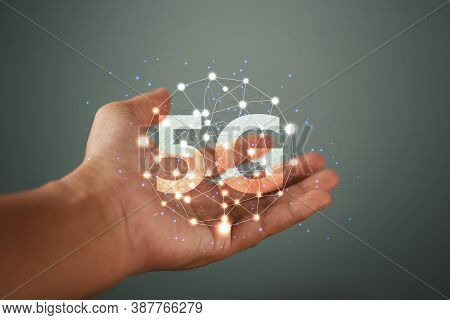 Global Network Connection 5g On Men Hand. Global Network Connection 5g Concept.