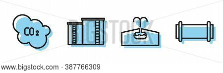 Set Line Oilfield, Co2 Emissions In Cloud, Oil Industrial Factory Building And Industry Pipe Icon. V