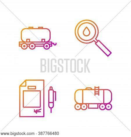 Set Line Oil Railway Cistern, Contract Money And Pen, Oil Railway Cistern And Oil Drop. Gradient Col
