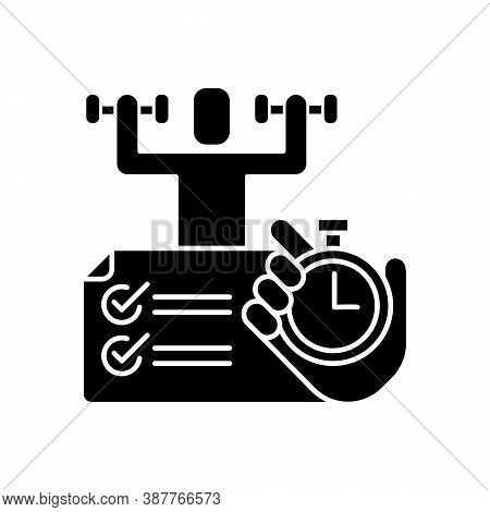 Physical Abilities Test Black Glyph Icon. Sports Achivments. Time Task. Sport Skills Testing. Measur