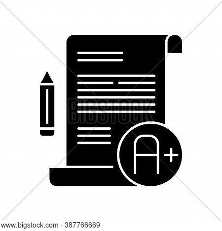 Essay Examination Black Glyph Icon. Succesful Result. Comprehensive Exam. Highest Grade. Pencil And