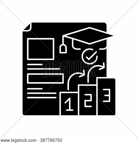 Placement Tests Black Glyph Icon. Qualifications Improving. Education Level. Examination Students. P