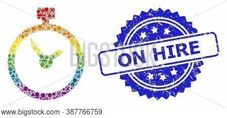 Bright Colored Vector Time Mosaic For Lgbt, And On Hire Rubber Rosette Seal Print. Blue Seal Include