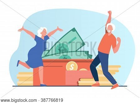 Senior Couple Getting Profit And Celebrating. Money, Income, Pension Payment Flat Vector Illustratio
