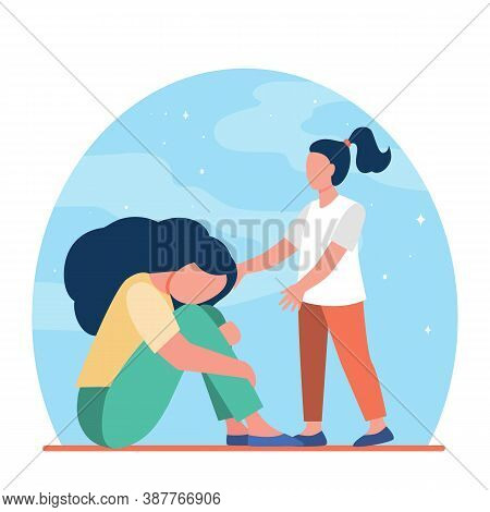 Girl Trying To Help Sad Woman. Sadness, Child, Grief Flat Vector Illustration. Depression And Melanc