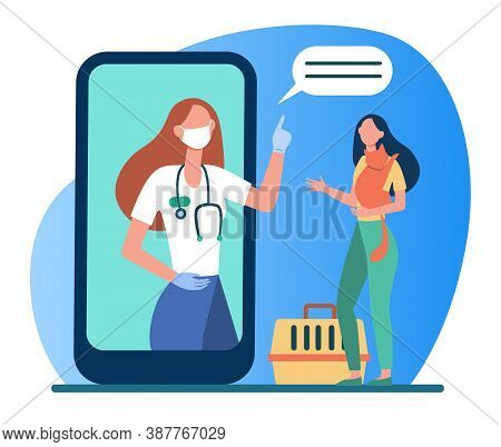 Veterinarian On Smartphone Screen Consulting Woman With Cat. Vet, Online, Consultation Flat Vector I