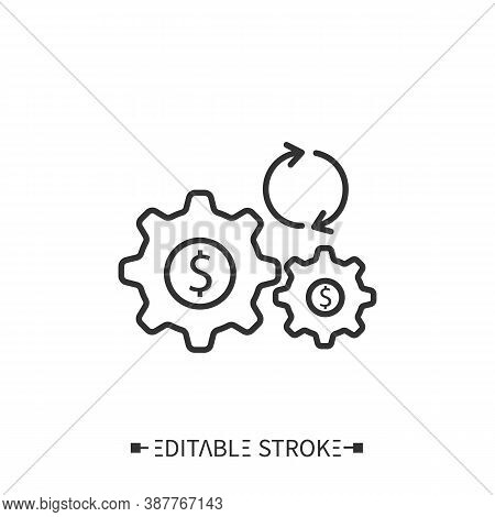Capital Synergies Icon. Working Cogwheels Depict Money Flow In Corporations. Outline Drawing. Reduci
