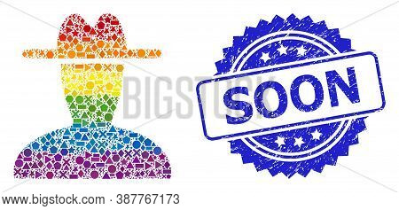 Spectrum Vibrant Vector Peasant Persona Mosaic For Lgbt, And Soon Scratched Rosette Stamp Seal. Blue