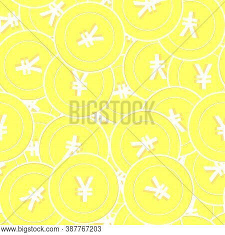 Chinese Yuan Gold Coins Seamless Pattern. Glamorous Scattered Yellow Cny Coins. Success Concept. Chi
