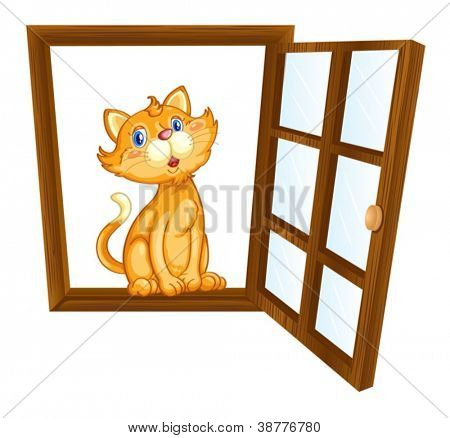 Illustration of a cat in a window
