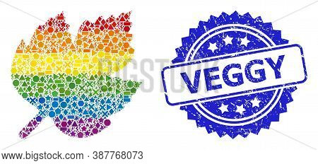 Bright Vibrant Vector Grape Leaf Collage For Lgbt, And Veggy Corroded Rosette Stamp Seal. Blue Stamp
