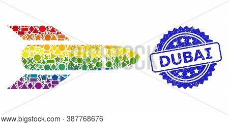 Bright Vibrant Vector Rocket Mosaic For Lgbt, And Dubai Dirty Rosette Seal. Blue Stamp Seal Includes