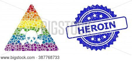 Rainbow Colored Vector Skull Toxic Warning Collage For Lgbt, And Heroin Unclean Rosette Seal Imitati
