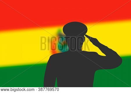 Solder Silhouette On Blur Background With Bolivia Flag.