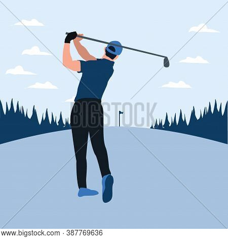 A Man Swing Golf Stick In The Golf Field - Two Tone Flat Illustrations