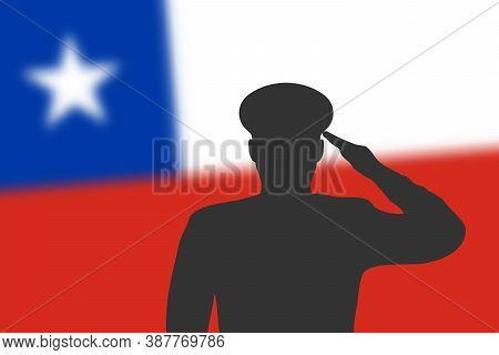 Solder Silhouette On Blur Background With Chile Flag.
