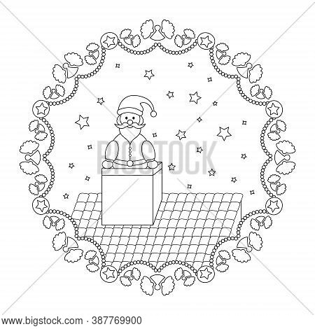 Christmas Mandala. Santa Claus Coming Out Of The Fireplace And Garland Of Angels. Christmas Coloring