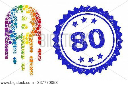 Bright Colorful Vector Melting Bitcoin Mosaic For Lgbt, And 80 Dirty Rosette Stamp Seal. Blue Stamp