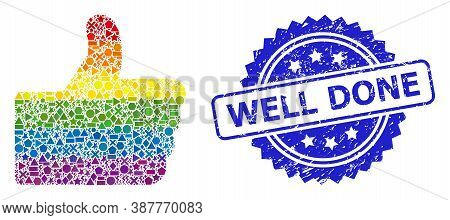 Bright Colorful Vector Thumb Up Mosaic For Lgbt, And Well Done Unclean Rosette Stamp Seal. Blue Seal