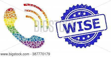 Rainbow Colorful Vector Phone Call Mosaic For Lgbt, And Wise Corroded Rosette Seal Print. Blue Seal