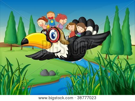 illustration of a river, a bird and kids in a beautiful nature