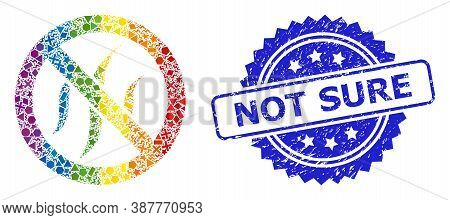 Rainbow Vibrant Vector Forbidden Flavors Collage For Lgbt, And Not Sure Corroded Rosette Seal. Blue