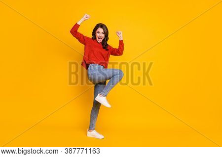 Full Length Body Size View Of Her She Nice Attractive Ecstatic Cheerful Cheery Wavy-haired Girl Danc