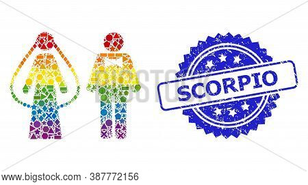 Rainbow Vibrant Vector Weds Persons Mosaic For Lgbt, And Scorpio Scratched Rosette Stamp Seal. Blue