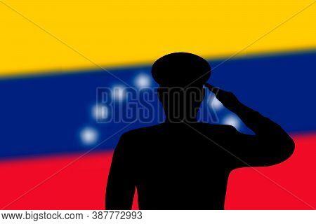 Solder Silhouette On Blur Background With Venezuela Flag.