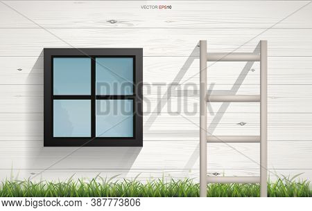 Abstract Background Of Wooden Ladder And Square Window On Wooden Wall Texture With Horizontal Slats