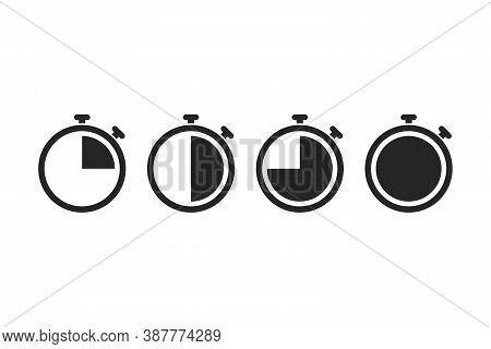 Stopwatch Icons In Black. Transparent Countdown On White Background. Isolated Set Of Stop Watch Time