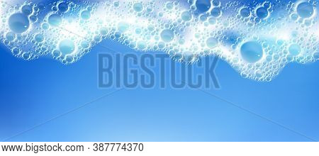 Cleaning Foam With Bubbles, White Froth Frame Horizontal Border, Foamy Texture, Liquid Soap Or Shamp