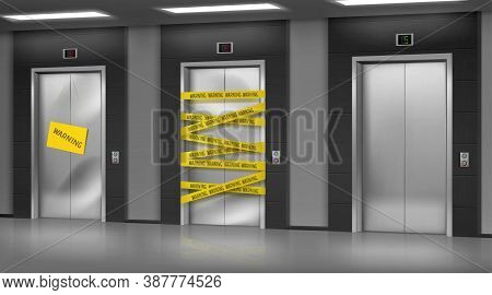 Broken Elevators Closed For Repair Or Maintenance. Warning Sign Hang On Lift Damaged Doors With Dent