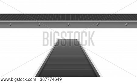 Conveyor Belt At Factory, Plant Or Warehouse In Front And Perspective View. Vector Realistic Illustr