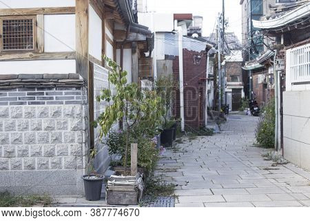 Narrow Alleyways And Streets Of Village In Seoul, South Korea.