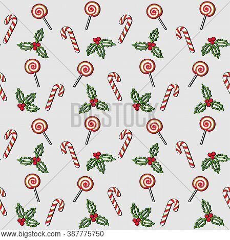 Lollipop, Candy Cane, Mistletoe And Christmas Holly Berries On A Gray Background. Vector Seamless Pa