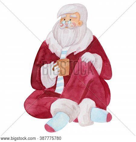 Santa Claus Clipart Watercolor Illustration. Santa Drinks Hot Drink Cozily. Vintage Santa Clipart Wa