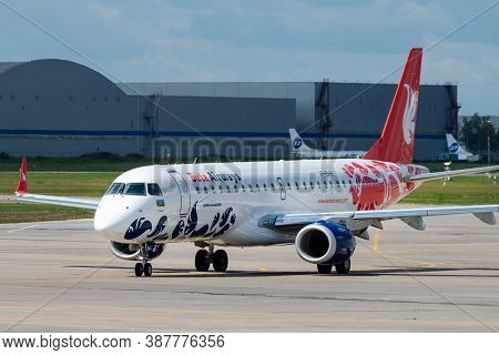 July 2, 2019, Moscow, Russia. Airplane Embraer Erj-190 Buta Airways At Vnukovo Airport In Moscow.