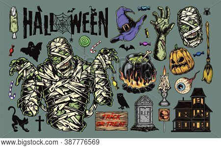 Vintage Halloween Elements Collection With Mummy Haunted House Pumpkin Gravestone Human Eye Witch Br