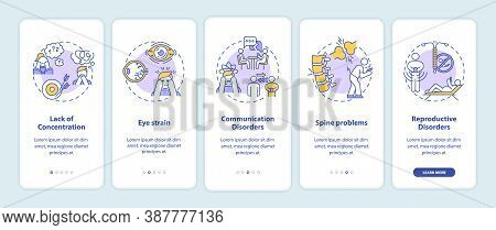 Gadget Addiction Symptoms Onboarding Mobile App Page Screen With Concepts. Concentration Loss, Spine