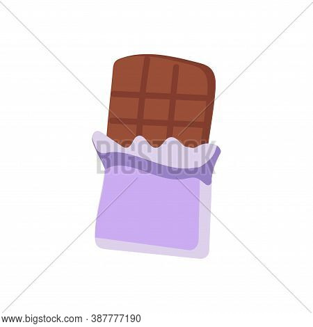 A Purple-wrapped Chocolate Bar That Is Half Open In A Flat Style. Halloween Sweetness Design Element