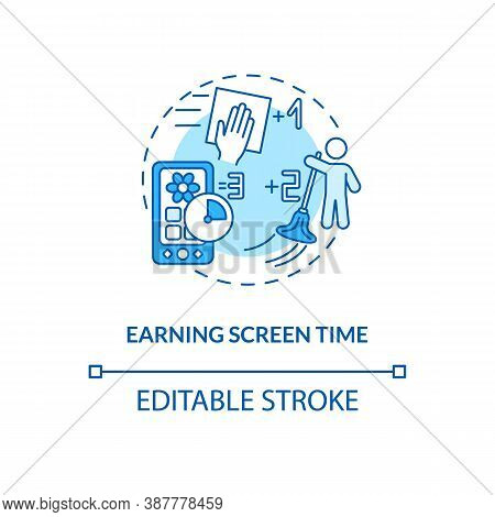 Earning Screen Time Concept Icon. Screen Addiction Prevention Idea Thin Line Illustration. Doing Hou